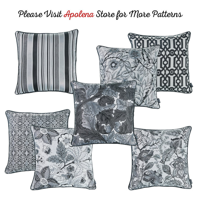 Jacquard Grey Geo Decorative Throw Pillow Cover Home Decor 17''x 17''