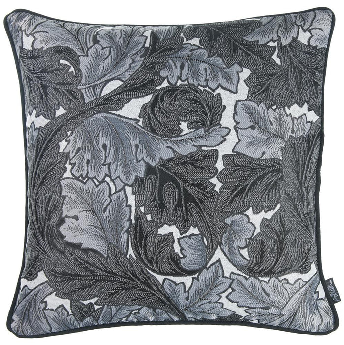 Jacquard Grey Leaf Decorative Throw Pillow Cover Home Decor 17''x 17''
