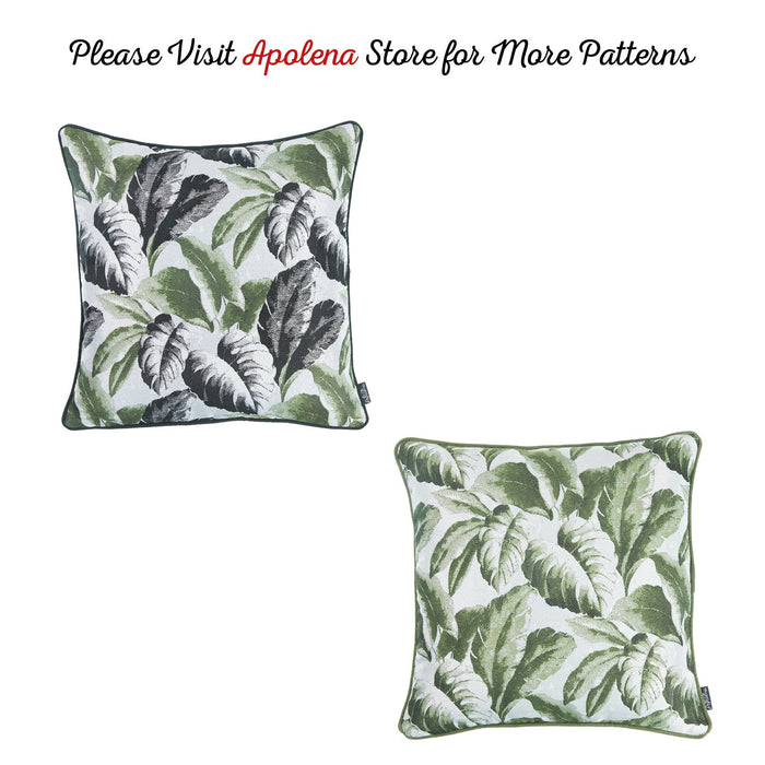 Jacquard Tropical Spring Leaf Decorative Throw Pillow Cover Home Decor