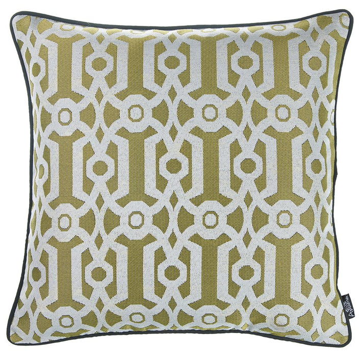 Jacquard Yellow Geo Decorative Throw Pillow Cover Home Decor 17''x 17''