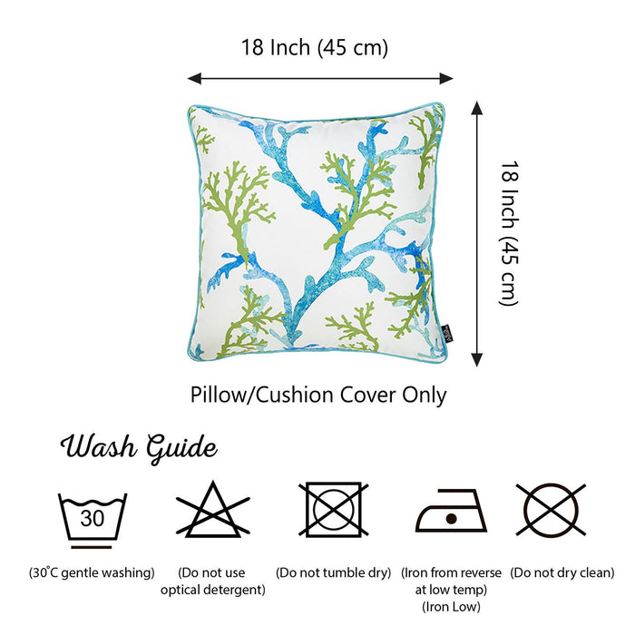 Marine Blue Coral Decorative Throw Pillow Cover Printed Home Decor 18''x18''