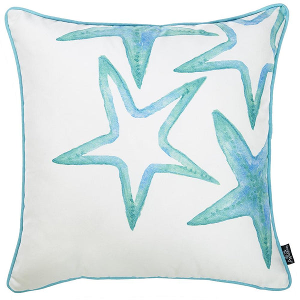 Marine Blue Stars Decorative Throw Pillow Cover Printed 18''x18''