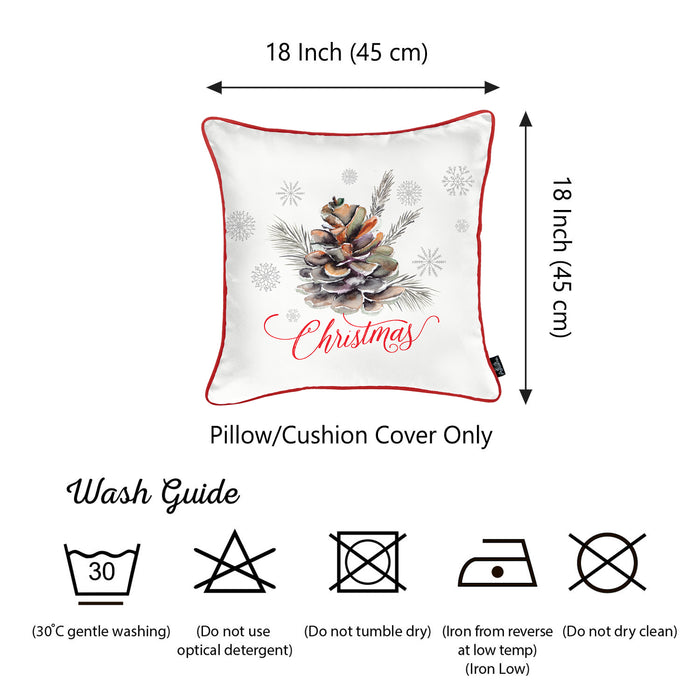 "Merry Christmas Pine Cone Throw Pillow Cover Christmas Gift 18""x18"""