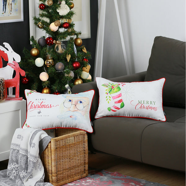 "Merry Christmas Set of 2 Throw Pillow Covers Christmas Gift 12""x20"""
