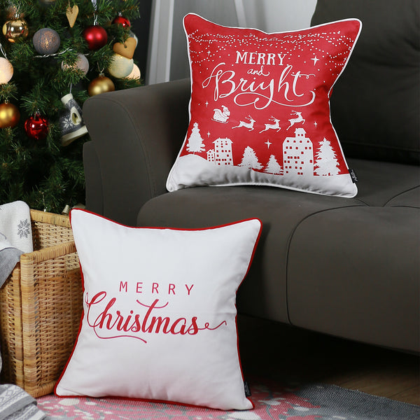 Merry Christmas Gift.Merry Christmas Set Of 2 Throw Pillow Covers Christmas Gift 18 X18