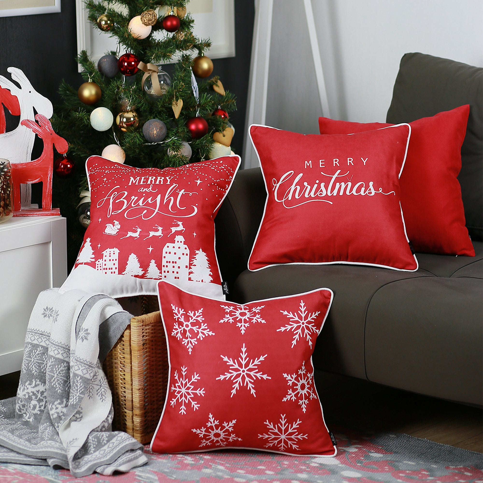 Merry Christmas Gift.Merry Christmas Set Of 4 Throw Pillow Covers Christmas Gifts 18 X18