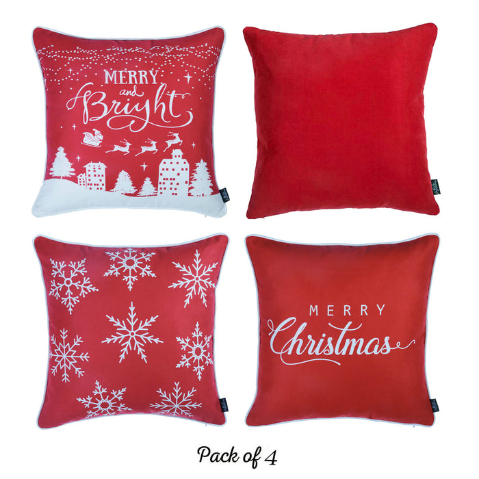 "Merry Christmas Set of 4 Throw Pillow Covers Christmas Gifts 18""x18"""