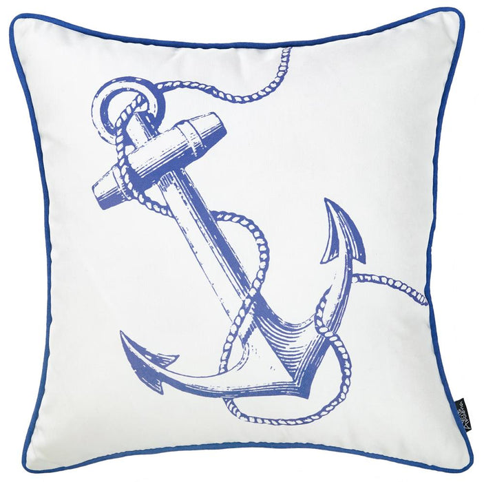 Nautica Anchor  Decorative Throw Pillow Cover Printed Home Decor 18''x18''