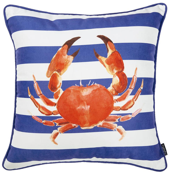 Nautica Crab Decorative Throw Pillow Cover Printed Home Decor 18''x18''