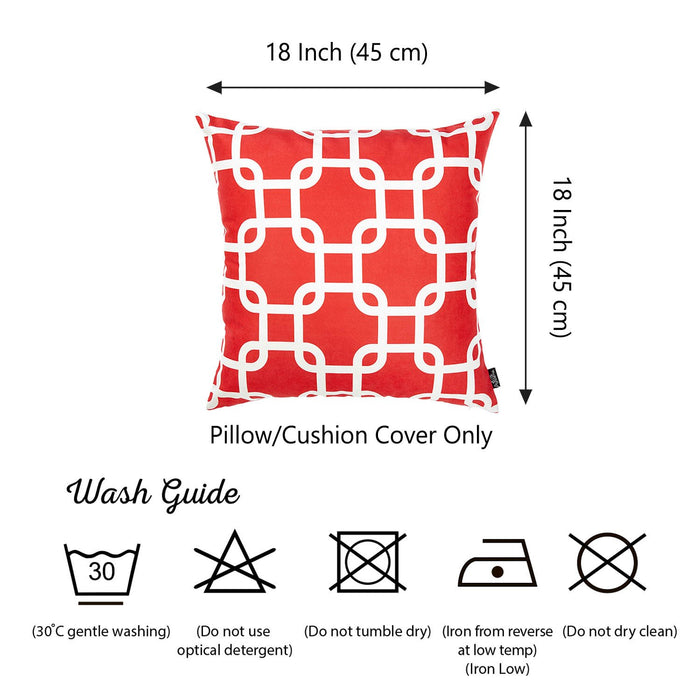 Nautica Red Latice Decorative Throw Pillow Cover Printed Home Decor 18''x18''