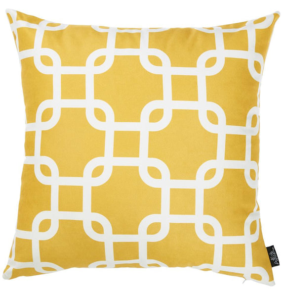 Nautica Yellow Latice Decorative Throw Pillow Cover Printed Home Decor 18''x18''