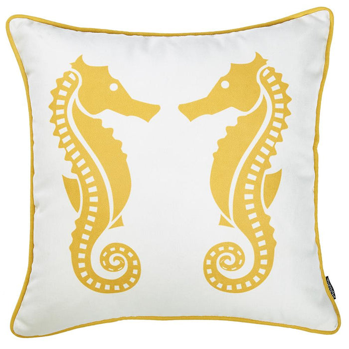 Nautica Yellow Seahorse Decorative Throw Pillow Cover Printed Home Decor 18''x18''