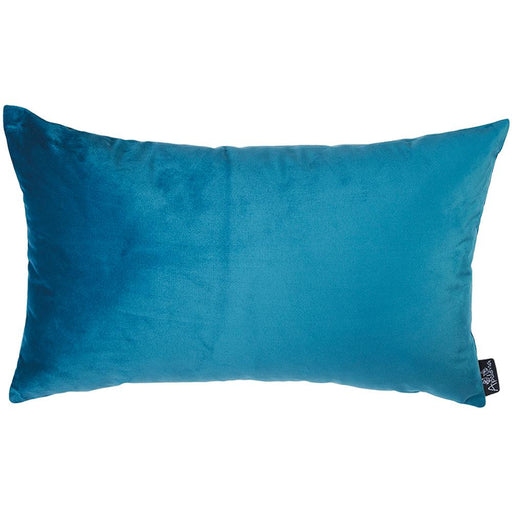 Velvet Petrol Blue Decorative Throw Pillow Cover Home Decor 14''x 21''