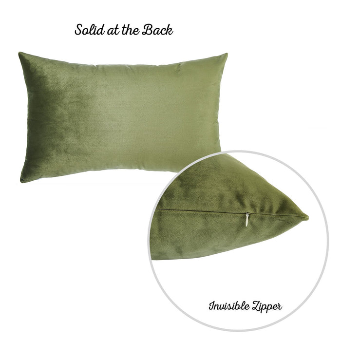Velvet Pickle Green Decorative Throw Pillow Cover Home Decor 14''x 21'' (2 Pcs in set)