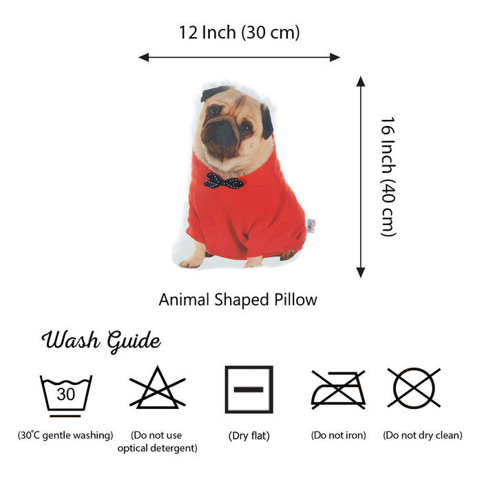 Animal Shaped Pillow, Filled Pillow with Pug Dog Shape