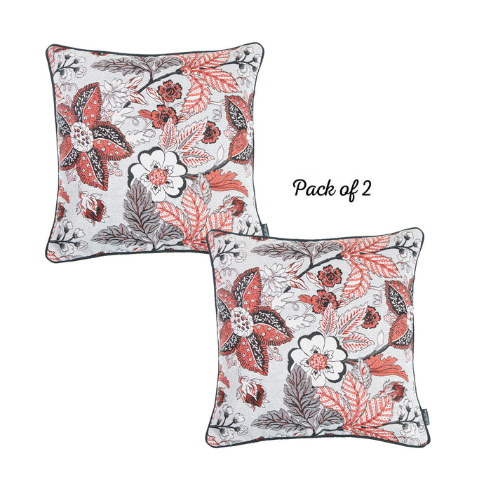 Jacquard Forest Red Decorative Pillow Cover 17''x17'' (2 Pcs in set)