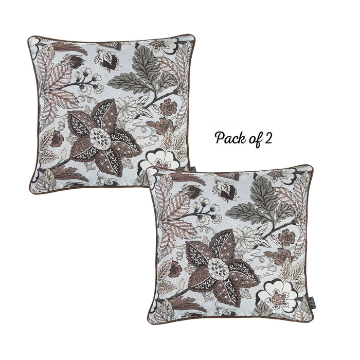 Jacquard Decorative Throw Pillow Cover Home 17''x 17'' (2 Pcs in set)