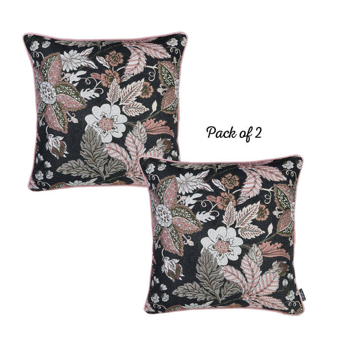 Jacquard Forest Night Decorative Throw Pillow Cover 17''x 17'' (2 Pcs in set)