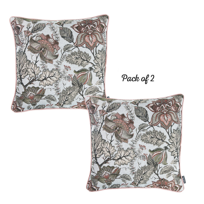 Jacquard Red Weaver Decorative Pillow Cover 17''x 17'' (2 Pcs in set)