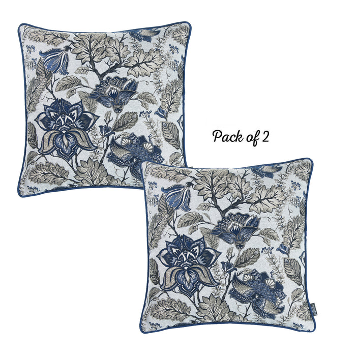 Jacquard Blue Decorative Throw Pillow Cover 17''x 17'' (2 Pcs in set)
