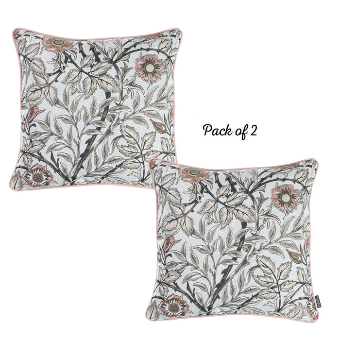 Jacquard Brown Leaf Decorative Pillow Cover 17''x17'' (2 Pcs in set)