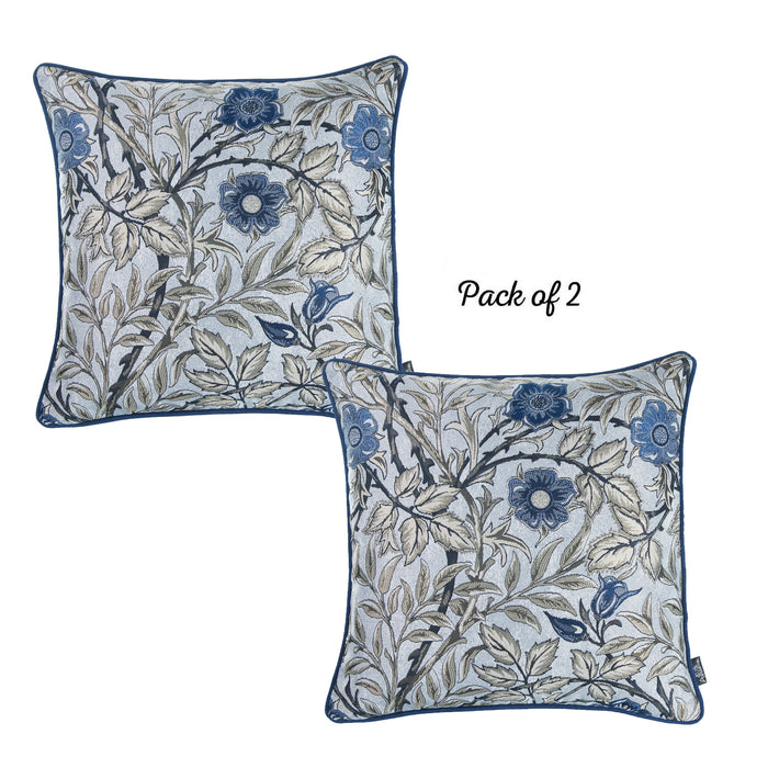 "Jacquard Blue Leaf Decorative Throw Pillow Cover 17""x17""(2 Pcs in set)"