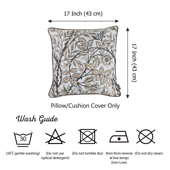 Jacquard Brown Leaf Throw Pillow Cover 17''x 17'' (2 Pcs in set)
