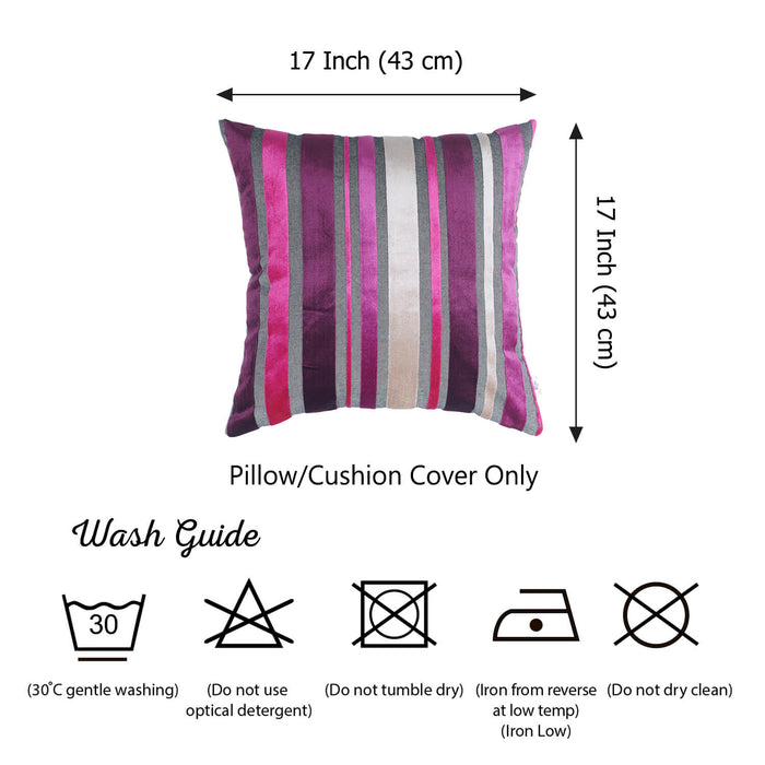 "Velvet Purple Luxurious Throw Decorative Pillow Case Set of 2 pcs (17 ""x 17"") Square"