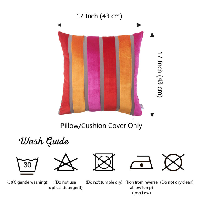 "Velvet Mixed Color Luxurious Throw Decorative Pillow Case Set of 2 pcs (17 ""x 17"") Square"