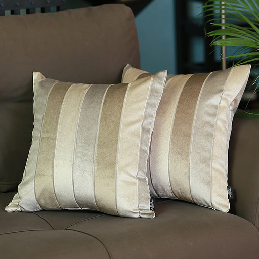 "Velvet Brown Luxurious Throw Decorative Pillow Case Set of 2 pcs (17 ""x 17"") Square"
