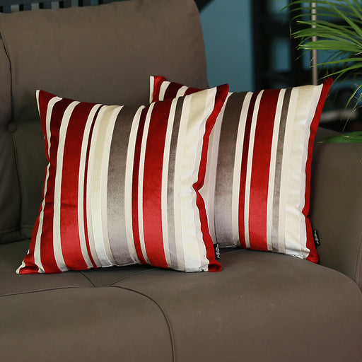 "Velvet Red Luxurious Throw Decorative Pillow Case Set of 2 pcs (17 ""x 17"") Square"