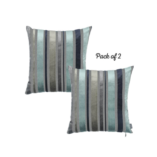 "Velvet Sky Blue Luxurious Throw Decorative Pillow Case Set of 2 pcs (17 ""x 17"") Square"