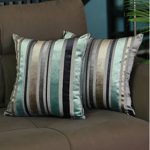 Luxurious Blue Velvet Throw Pillow Cover Set 17''x17'' (Set of 2 pcs)