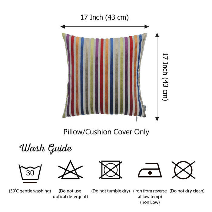 "Velvet Colored Lines Luxurious Throw Decorative Pillow Case Set of 2 pcs (17 ""x 17"") Square"