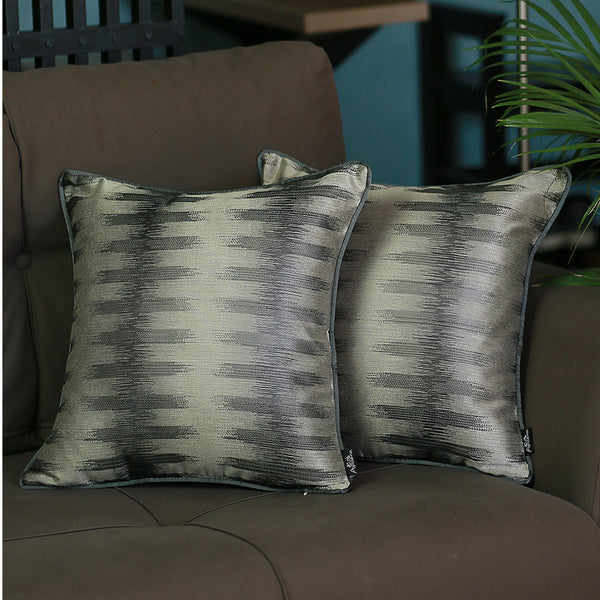 Jacquard Black Gray Decorative Throw Pillow Cover Set Of 2 Pcs 17''x 17'' Square
