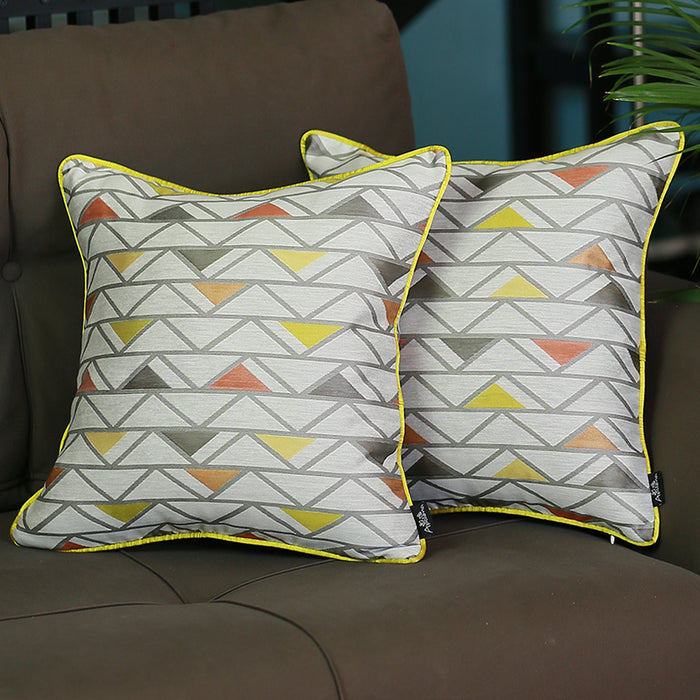 Jacquard Colorful Shapes Decorative Throw Pillow Cover Set Of 2 Pcs 17''x 17'' Square