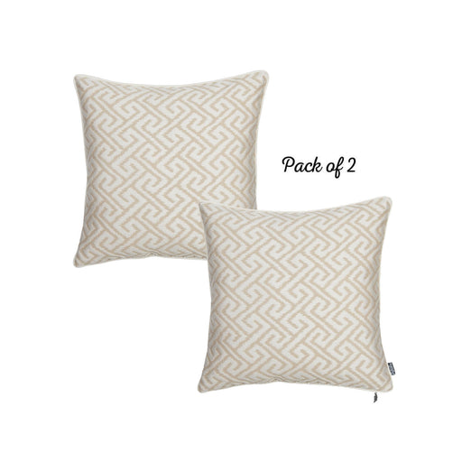 Jacquard Brown Shapes Decorative Throw Pillow Cover Set Of 2 Pcs 17''x 17'' Square