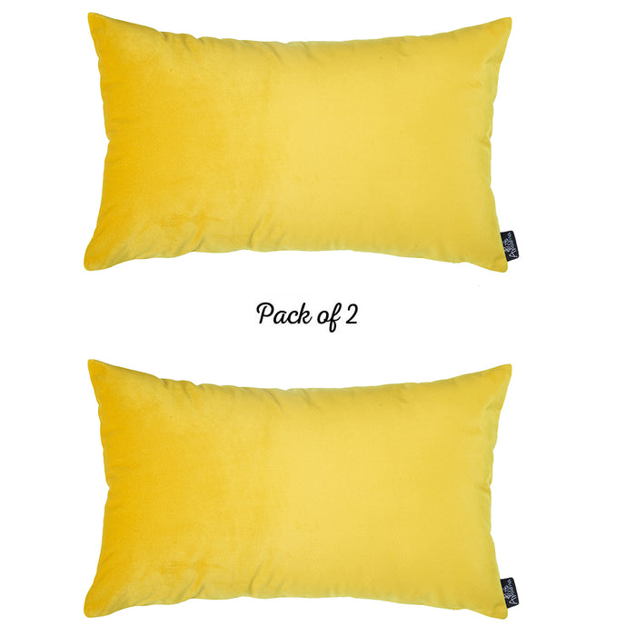 Velvet Yellow Decorative Throw Pillow Cover Home Decor 14''x 21'' (2 Pcs in set)