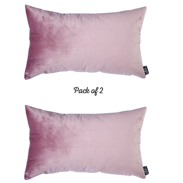 Velvet Blush Pink Decorative Throw Pillow Cover Home Decor 14''x 21'' (2 Pcs in set)
