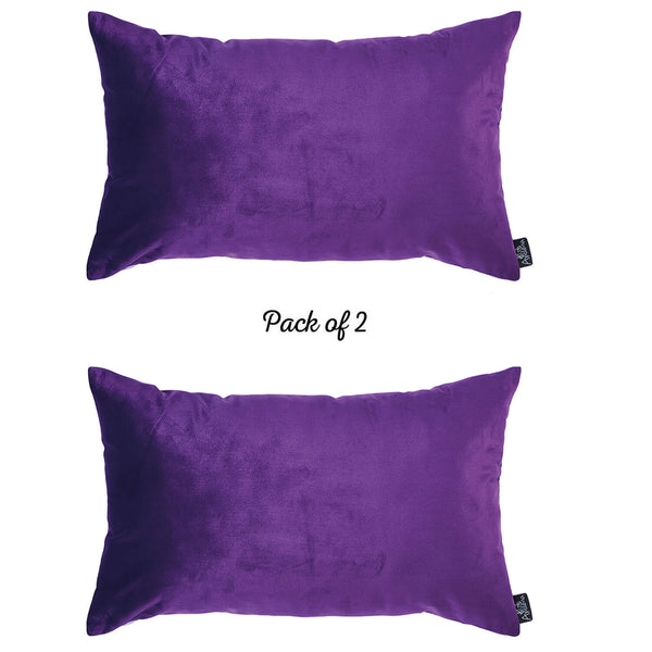 Velvet Purple Decorative Throw Pillow Cover Home Decor 14''x 21'' (2 Pcs in set)