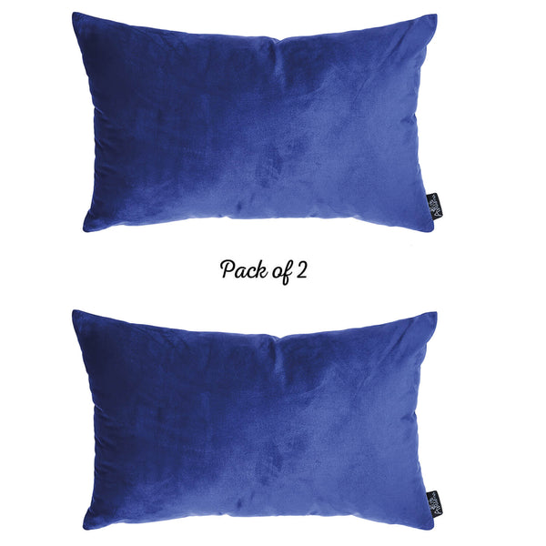 Velvet Navy Blue Decorative Throw Pillow Cover Home Decor 14''x 21'' (2 Pcs in set)