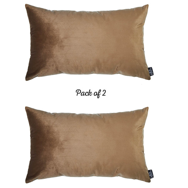 Velvet Tortilla Brown Decorative Throw Pillow Cover Home Decor 14''x 21'' (2 Pcs in set)