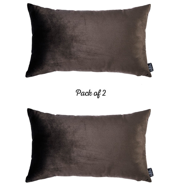Velvet Carob Brown Decorative Throw Pillow Cover Home Decor 14''x 21'' (2 Pcs in set)