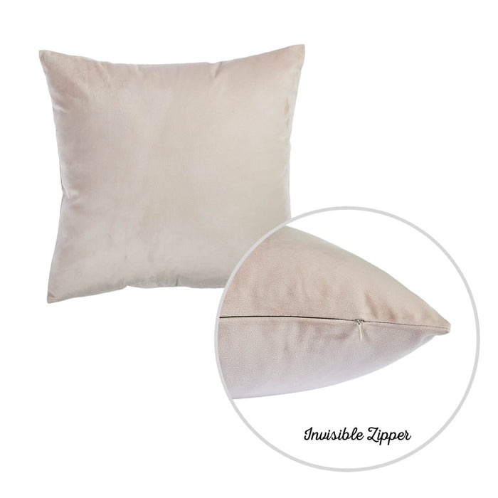 Velvet Light Beige Decorative Throw Pillow Cover (2 Pcs in set)