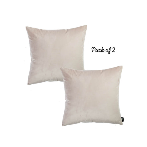 "Velvet Light Beige Decorative Throw Pillow Cover Home Decor 18""x 18"" (2 Pcs in set)"
