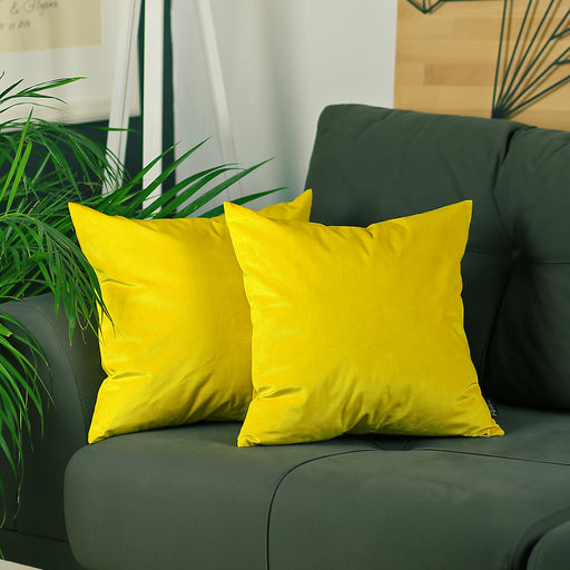 Velvet Yellow Decorative Throw Pillow Cover Set (2 Pcs in set)