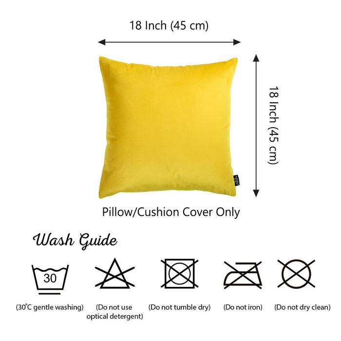 Velvet Yellow Decorative Throw Pillow Cover Home Decor 18''x 18'' (2 Pcs in set)