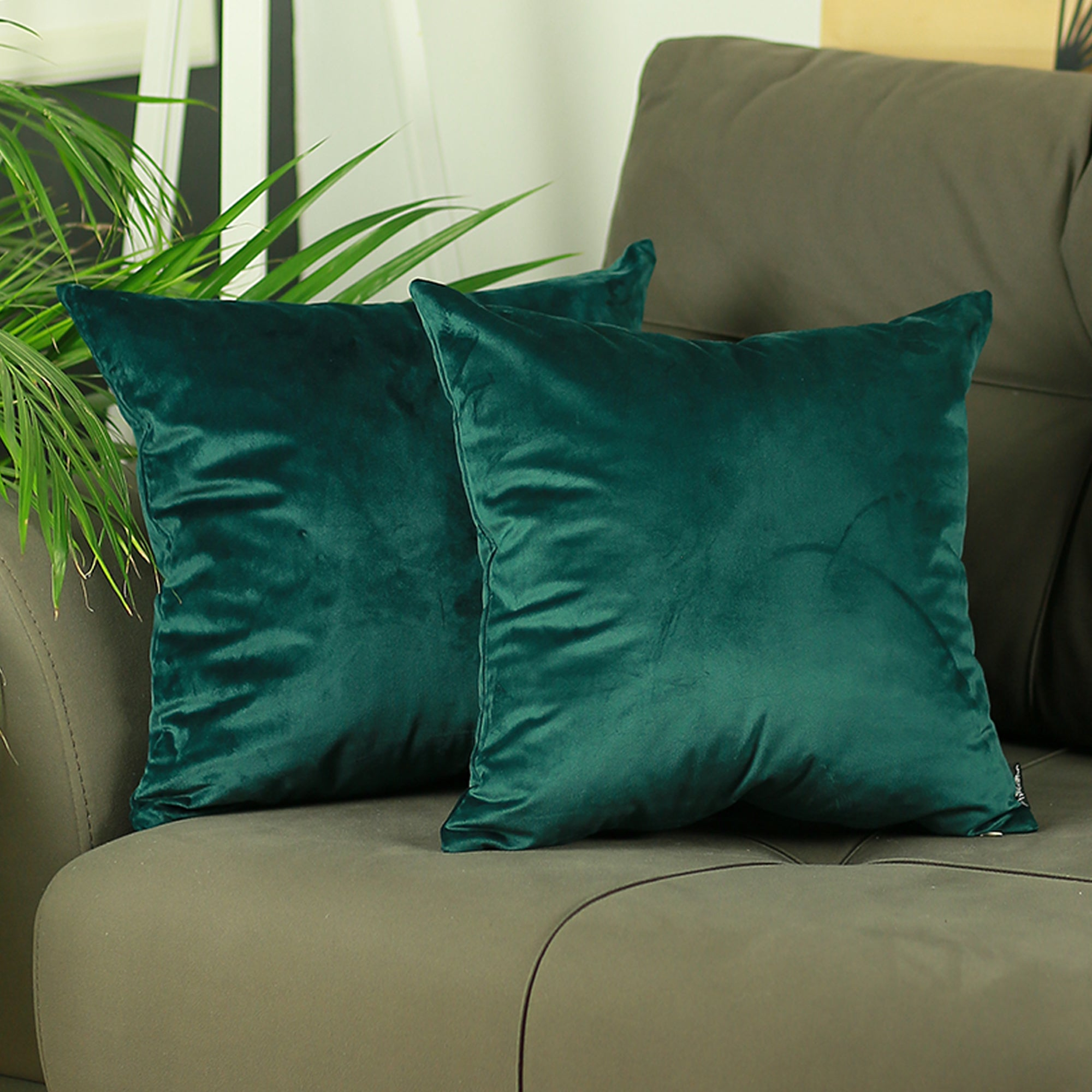 Velvet Dark Emerald Green Decorative Throw Pillow Cover 2 Pcs In Set