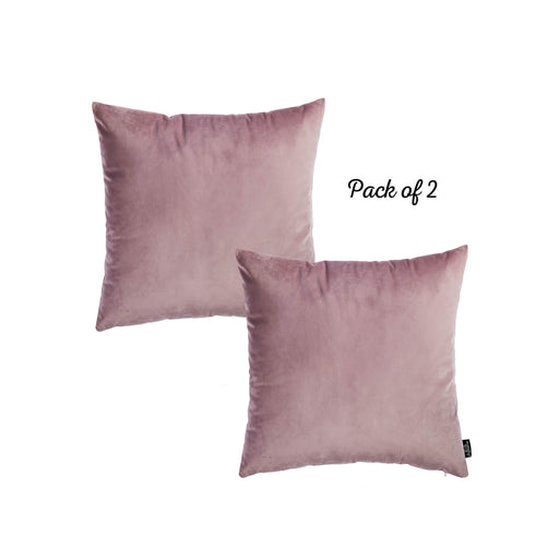 Velvet Blush Pink Green Decorative Throw Pillow Cover Home Decor 18''x 18'' (2 Pcs in set)