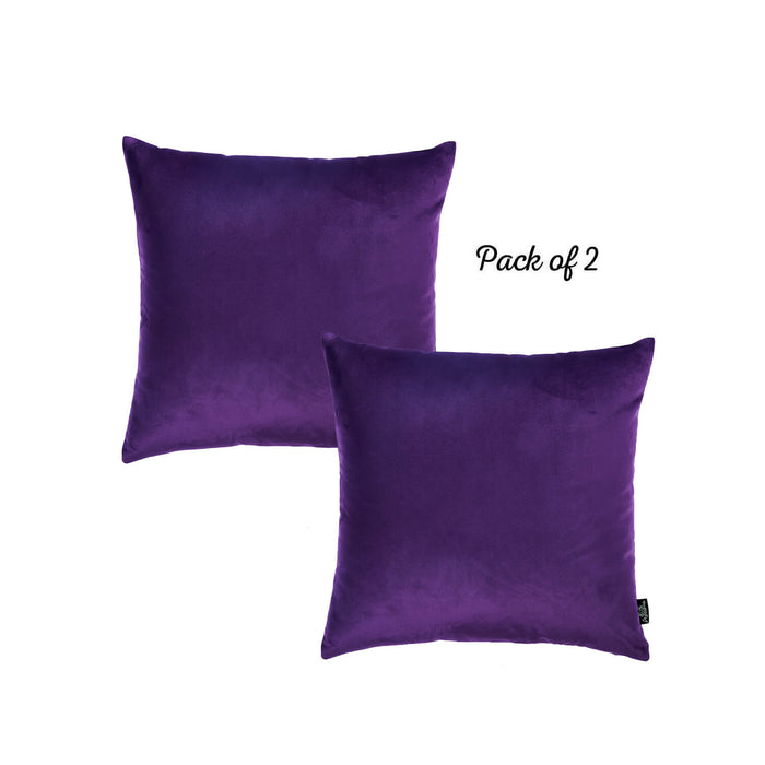 Velvet Purple Decorative Throw Pillow Cover Home Decor 18''x 18'' (2 Pcs in set)